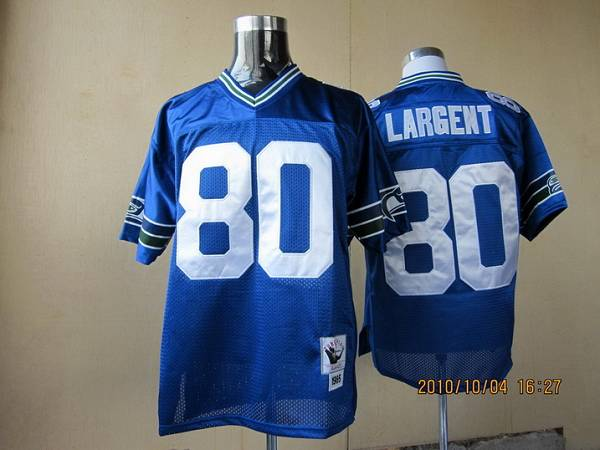 Mitchell & Ness Seahawks #80 Steve Largent Blue Throwback Stitched NFL Jersey