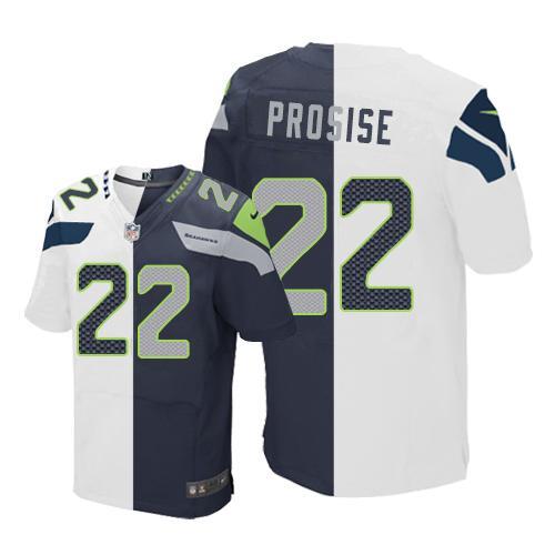 b4ddd820346 Nike Seahawks  22 C. J. Prosise White Steel Blue Men s Stitched NFL Elite  Split Jersey