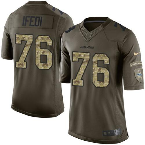 Nike Seahawks #76 Germain Ifedi Green Men's Stitched NFL Limited Salute to Service Jersey