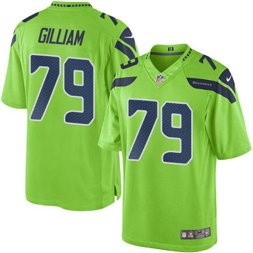 Nike Seahawks #79 Garry Gilliam Green Men's Stitched NFL Limited Rush Jersey