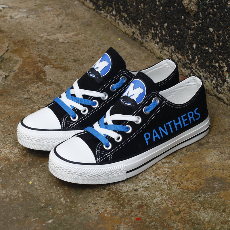 Women's NFL Carolina Panthers Repeat Print Low Top Sneakers 003