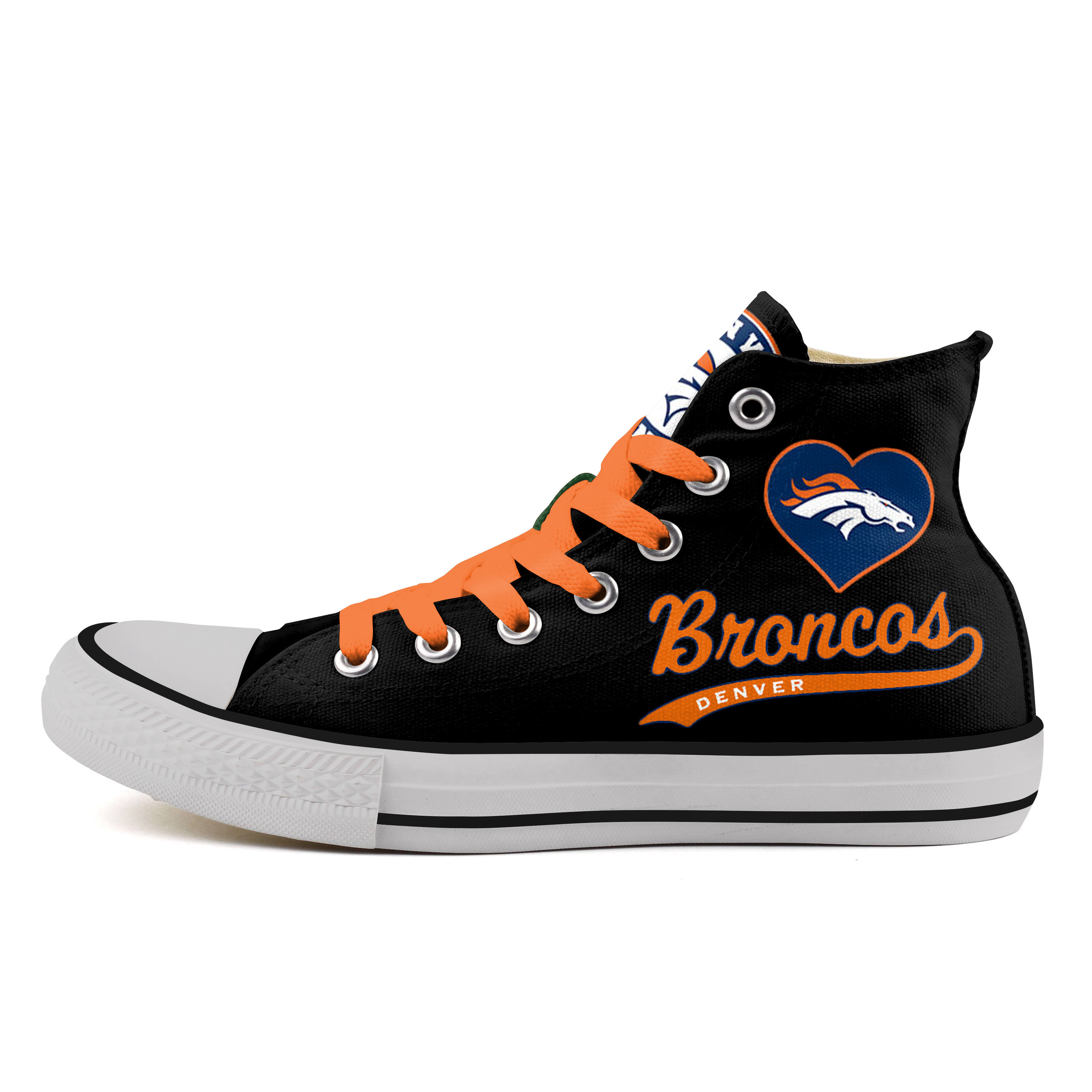 Women's NFL Denver Broncos Repeat Print High Top Canvas Sneakers 011