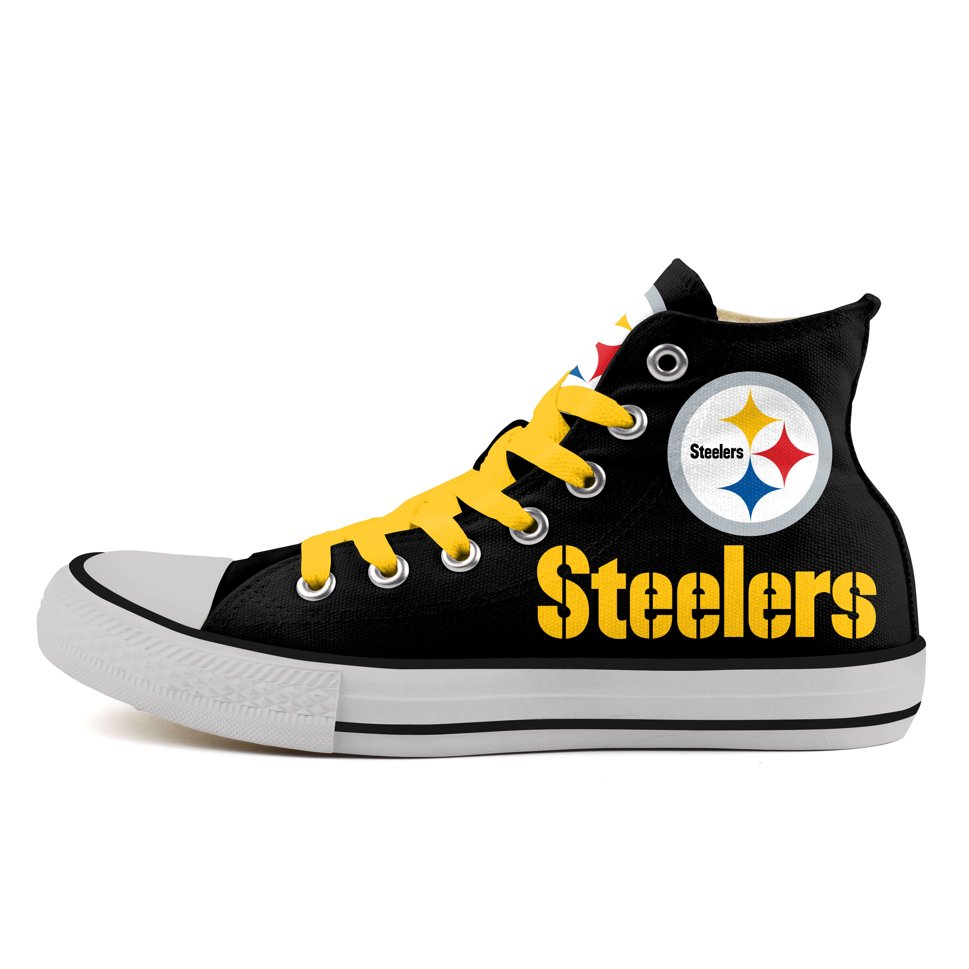 Women's NFL Pittsburgh Steelers Repeat Print High Top Sneakers 007