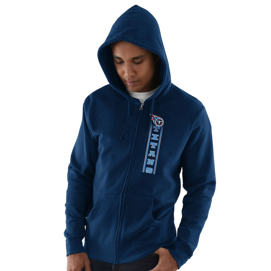 Men's Tennessee Titans Navy Hook and Ladder Full-Zip NFL Hoodie