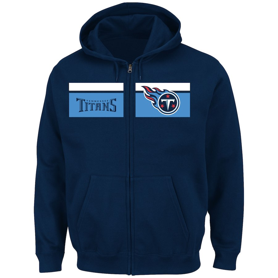 Men's Tennessee Titans Navy Majestic Touchback Full-Zip NFL Hoodie