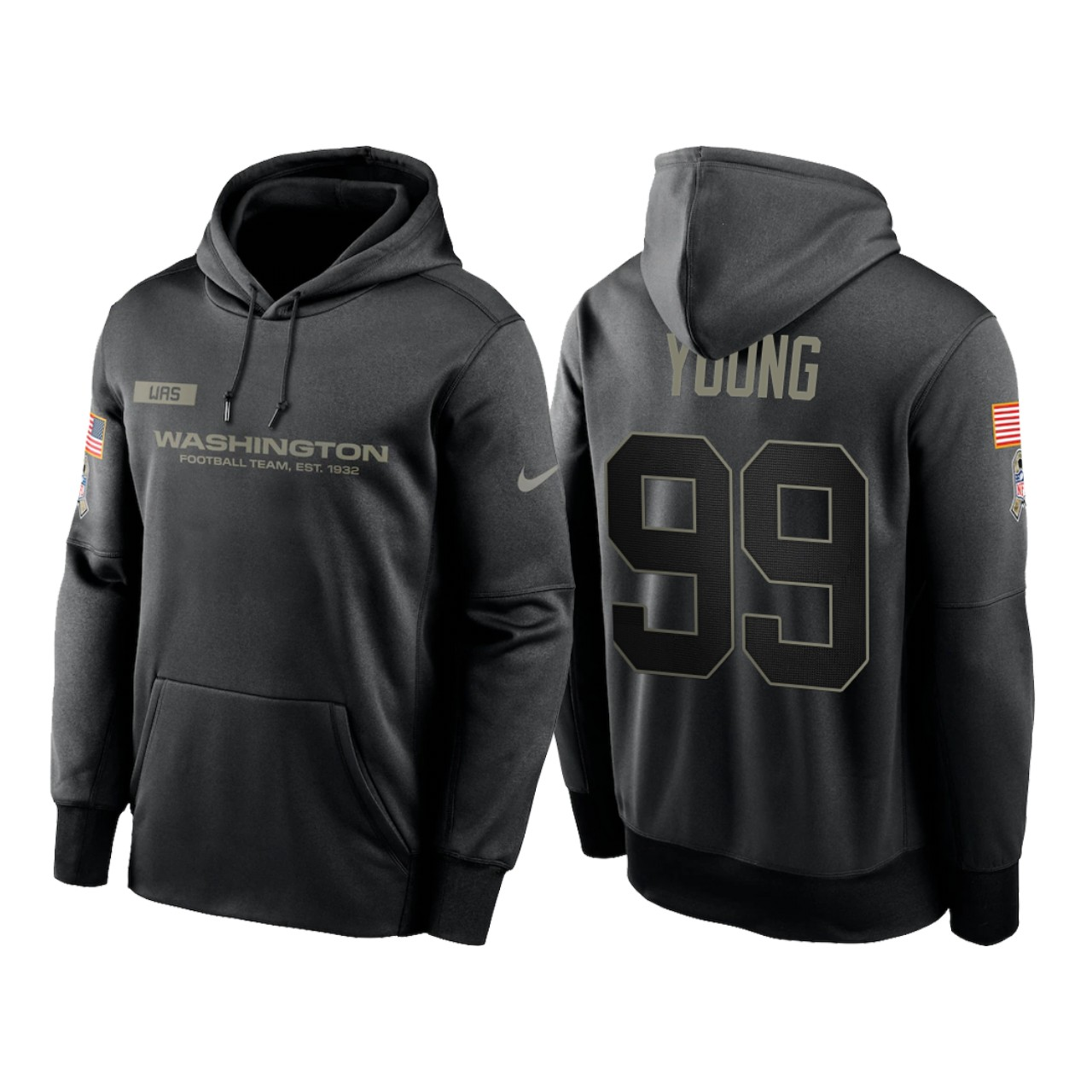 Men's Washington Football Team #99 Chase Young 2020 Black Salute to Service Sideline Performance Pullover Hoodie
