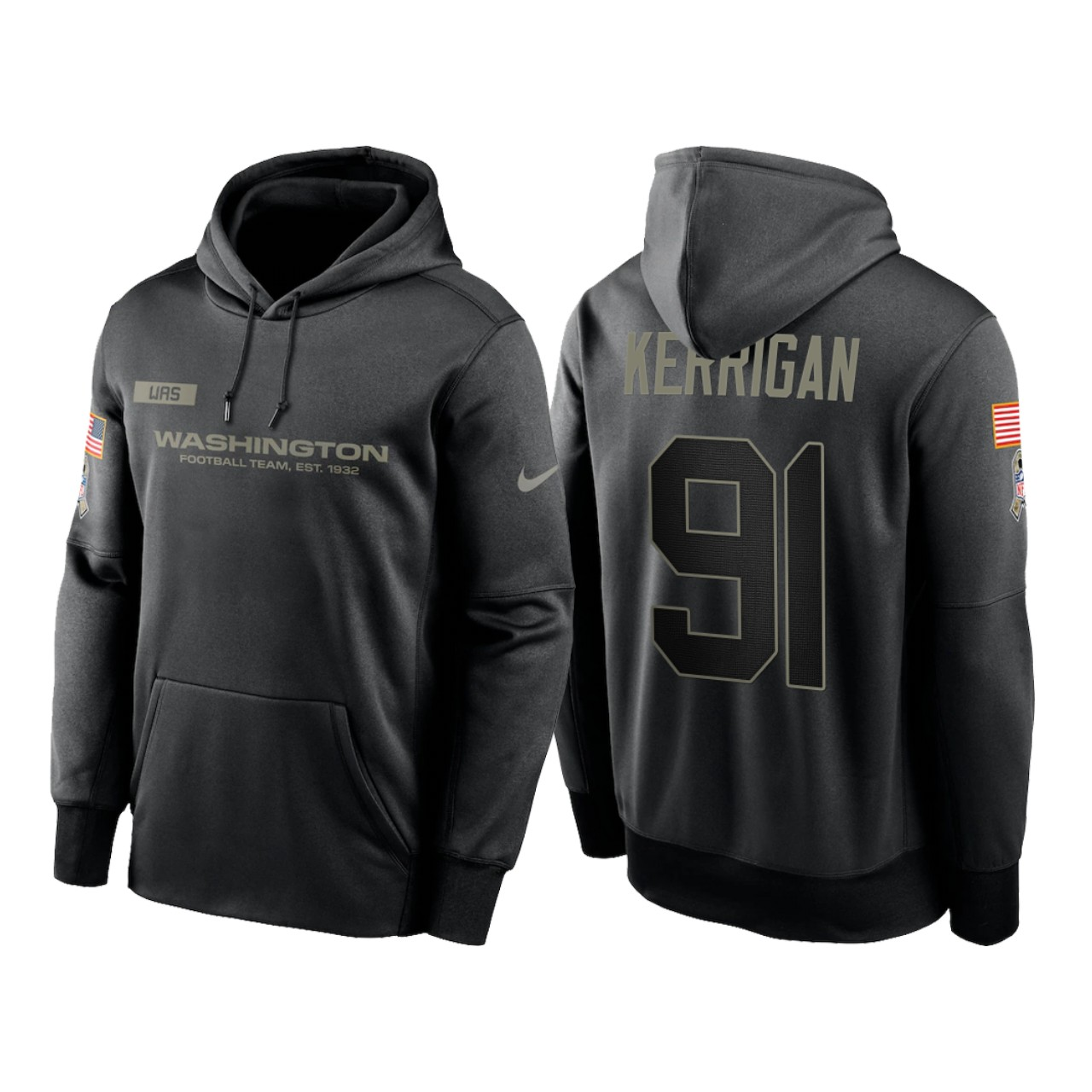 Men's Washington Football Team #91 Ryan Kerrigan 2020 Black Salute to Service Sideline Performance Pullover Hoodie