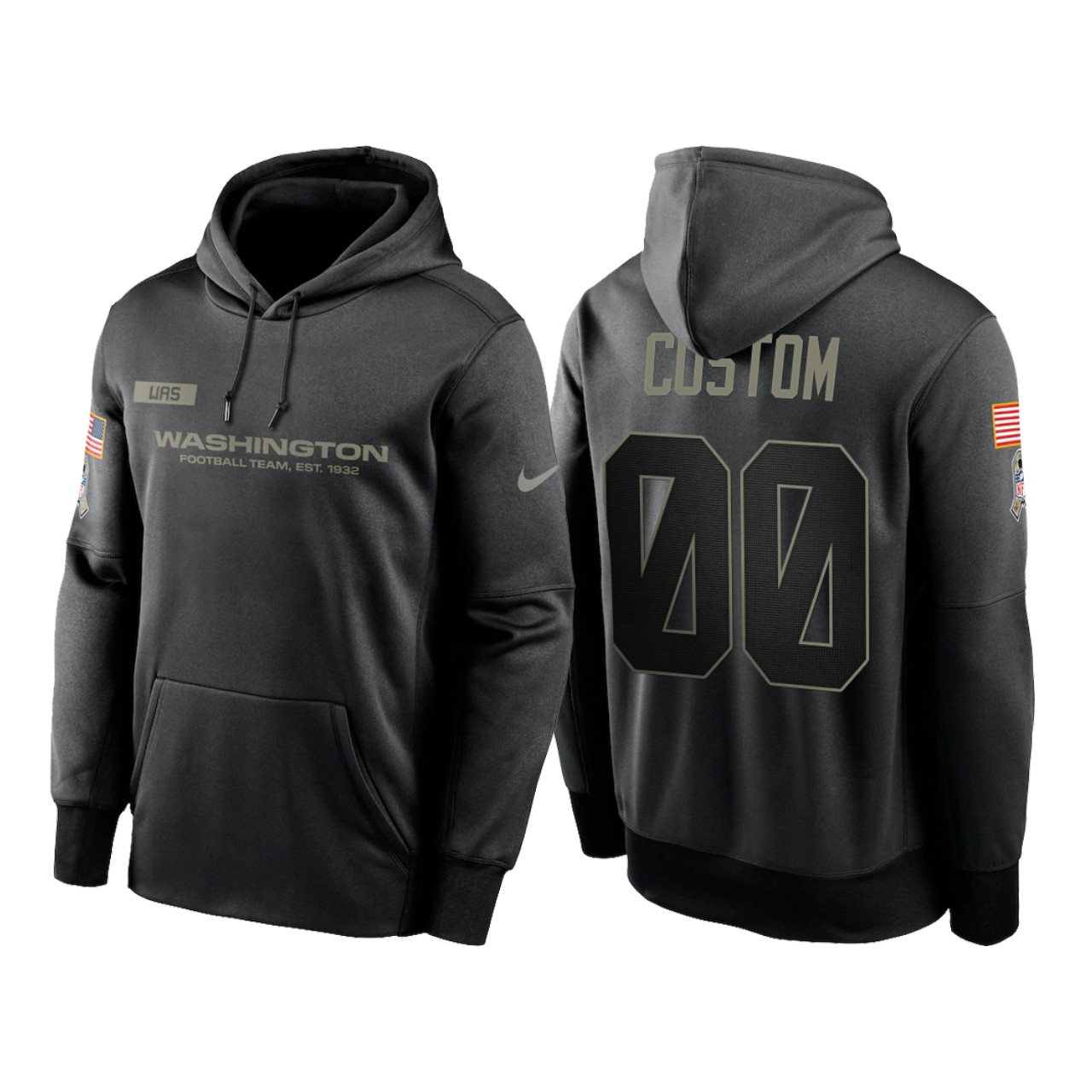 Men's Washington Football Team ACTIVE PLAYER Custom 2020 Black Salute to Service Sideline Performance Pullover Hoodie