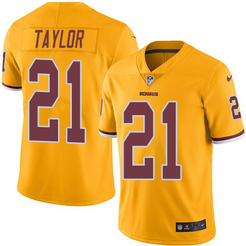 Nike Redskins #21 Sean Taylor Gold Men's Stitched NFL Limited Rush Jersey
