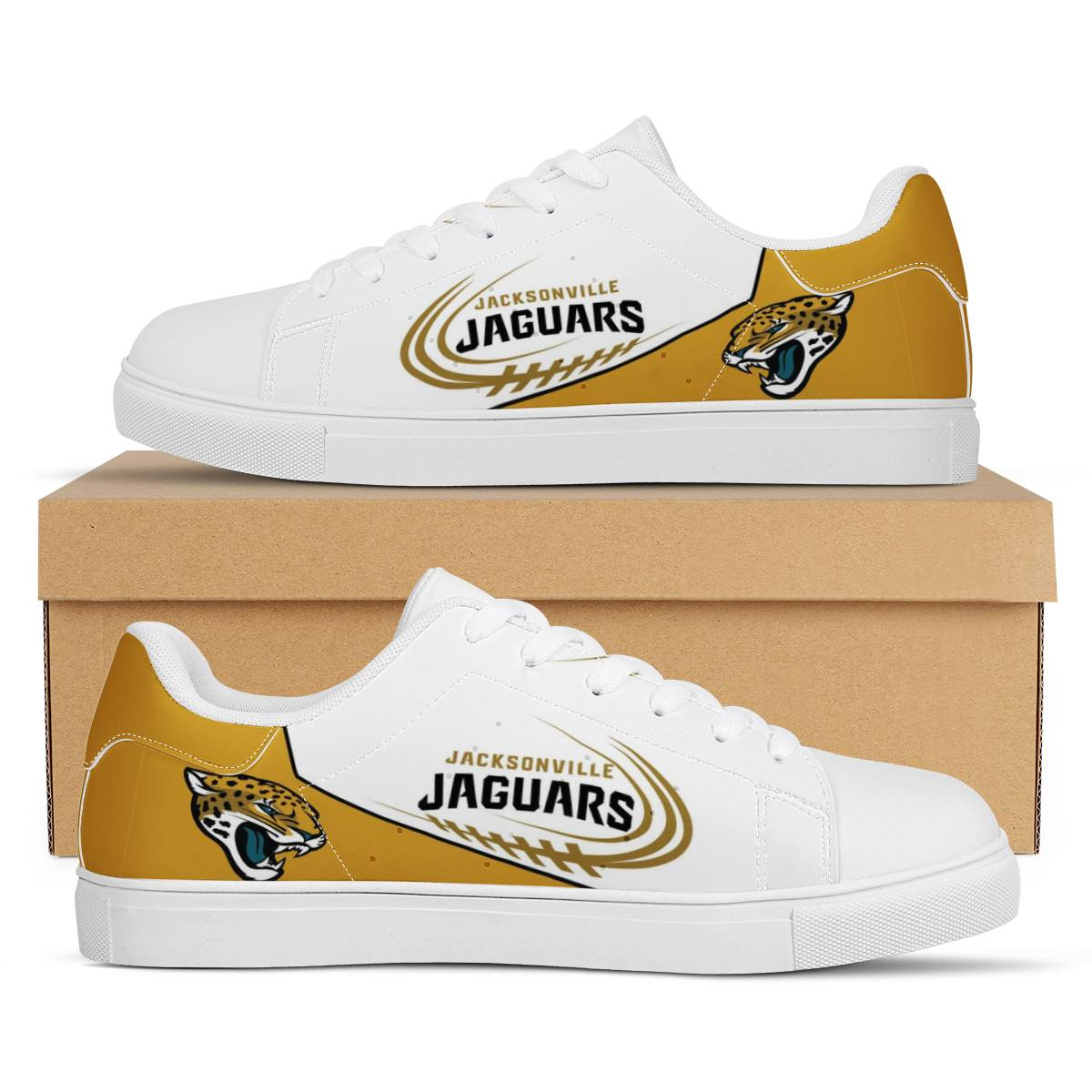 Men's Jacksonville Jaguars Low Top Leather Sneakers 003