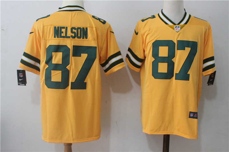 Men s Nike Green Bay Packers  87 Jordy Nelson Yellow Stitched NFL Limited  Rush Jersey 80365ef42