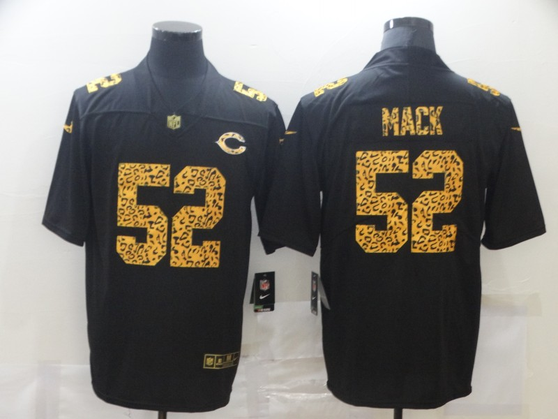 Men's Chicago Bears #52 Khalil Mack 2020 Black Leopard Print Fashion Limited Stitched Jersey