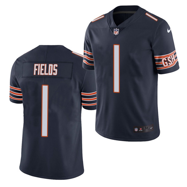 Men's Chicago Bears #1 Justin Fields 2021 NFL Draft Navy Vapor untouchable Limited Stitched Jersey