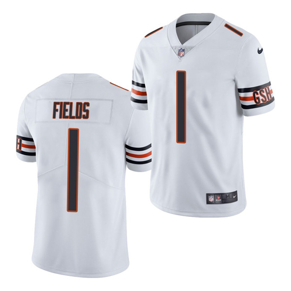 Men's Chicago Bears #1 Justin Fields 2021 NFL Draft White Vapor untouchable Limited Stitched Jersey