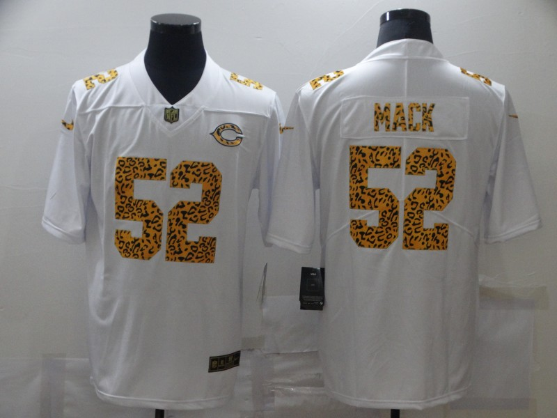 Men's Chicago Bears #52 Khalil Mack 2020 White Leopard Print Fashion Limited Stitched Jersey
