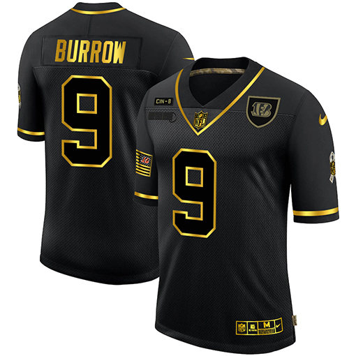 Men's Cincinnati Bengals #9 Joe Burrow 2020 Black/Gold Salute To Service Limited Stitched Jersey