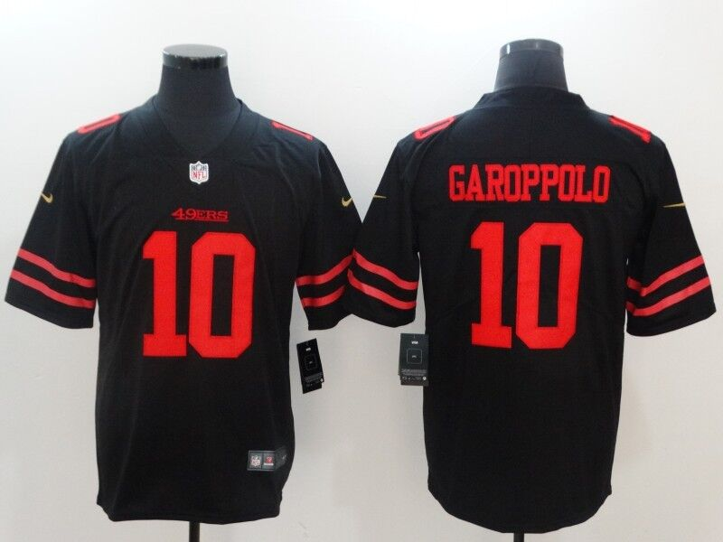 Men's Nike San Francisco 49ers #10 Jimmy Garoppolo Black Vapor Untouchable Limited Stitched NFL Jersey