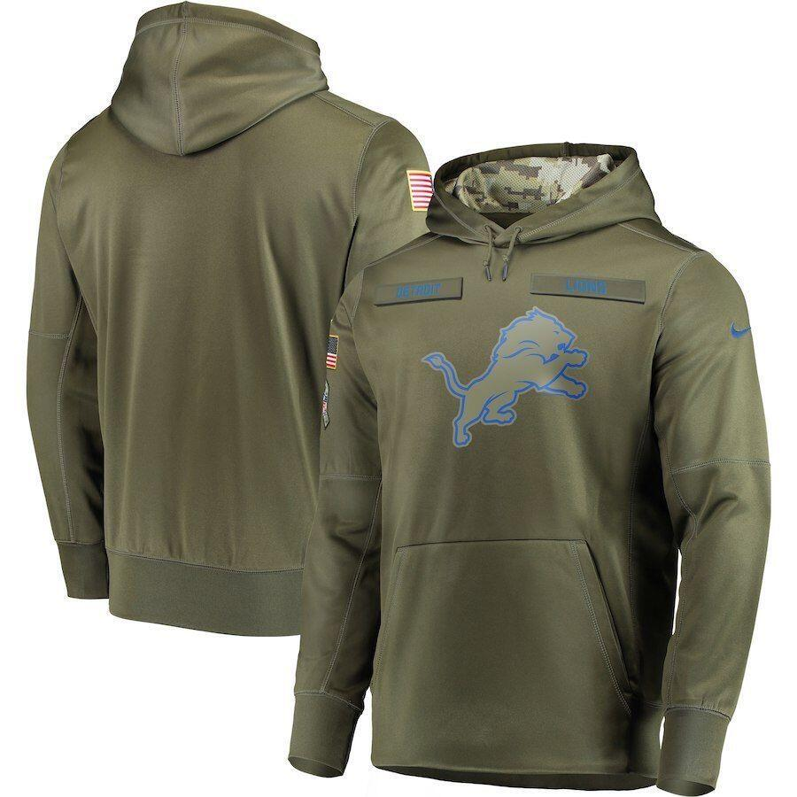 Men's Detroit Lions Olive Salute to Service Sideline Therma Performance Pullover NFL Hoodie