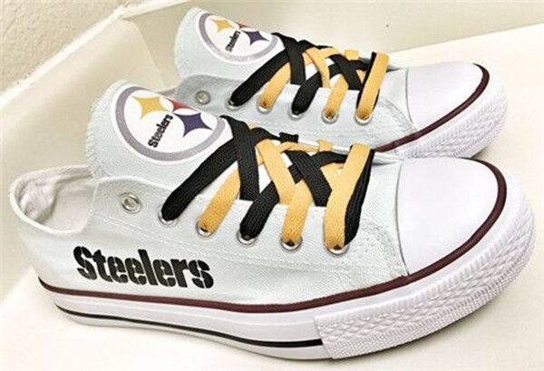 Women's and Youth Pittsburgh Steelers Repeat Print Low Top Sneakers 001