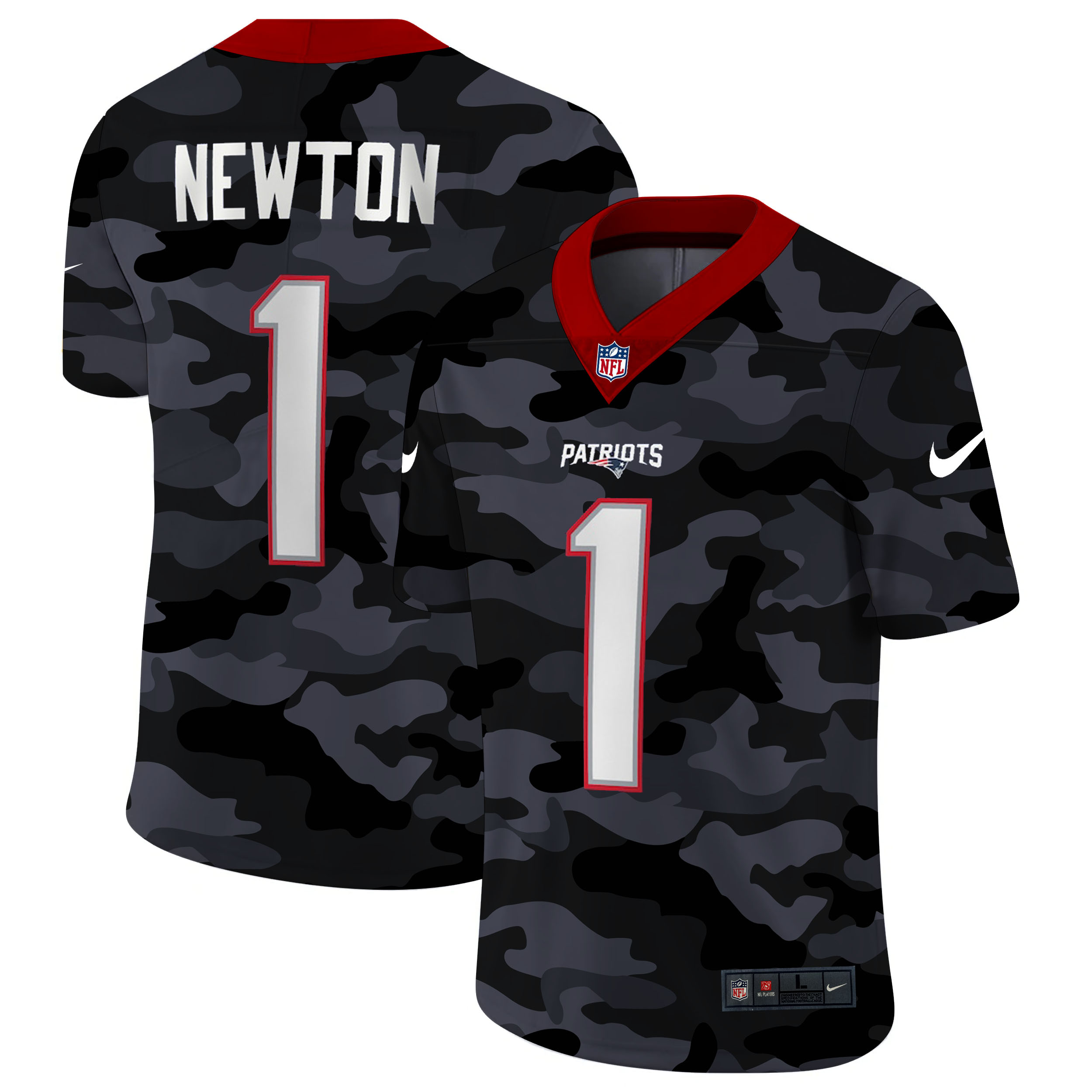 Men's New England Patriots #1 Cam Newton 2020 Camo Limited Stitched Jersey