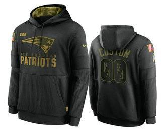 Men's New England Patriots ACTIVE PLAYER Custom 2020 Black Salute To Service Sideline Performance Pullover Hoodie