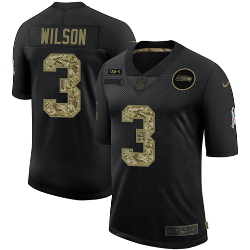 Men's Seattle Seahawks #3 Russell Wilson 2020 Black Camo Salute To Service Limited Stitched Jersey
