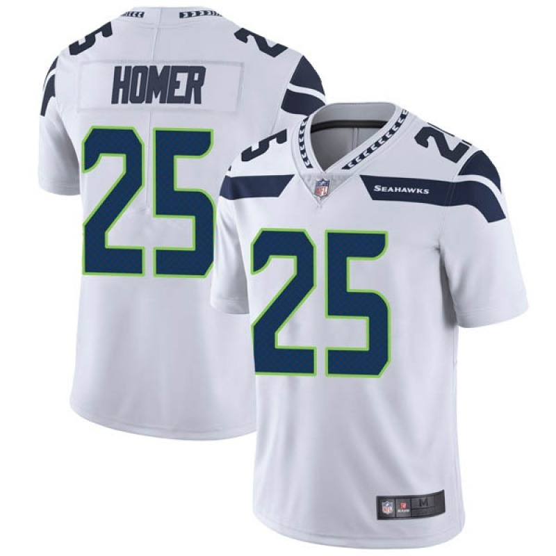 Men's Seattle Seahawks #25 Travis Homer White Vapor Untouchable Limited Stitched Jersey