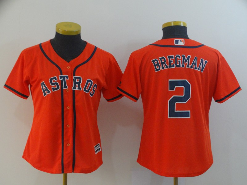 Women's Houston Astros #2 Alex Bregman Orange Cool Base Stitched MLB Jersey