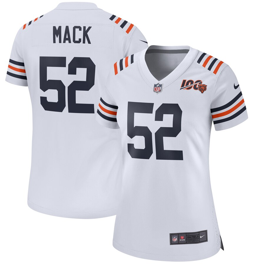 Women's Chicago Bears #52 Khalil Mack White 2019 100th Season Limited Stitched NFL Jersey