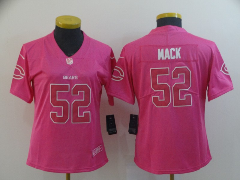 Women's Chicago Bears #52 Khalil Mack Pink Vapor Untouchable Limited Stitched NFL Jersey(Run Small))