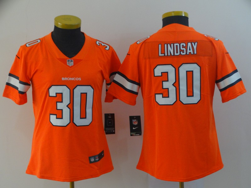 Women's Denver Broncos #30 Phillip Lindsay Orange Color Rush Limited Stitched NFL Jersey(Run Small)