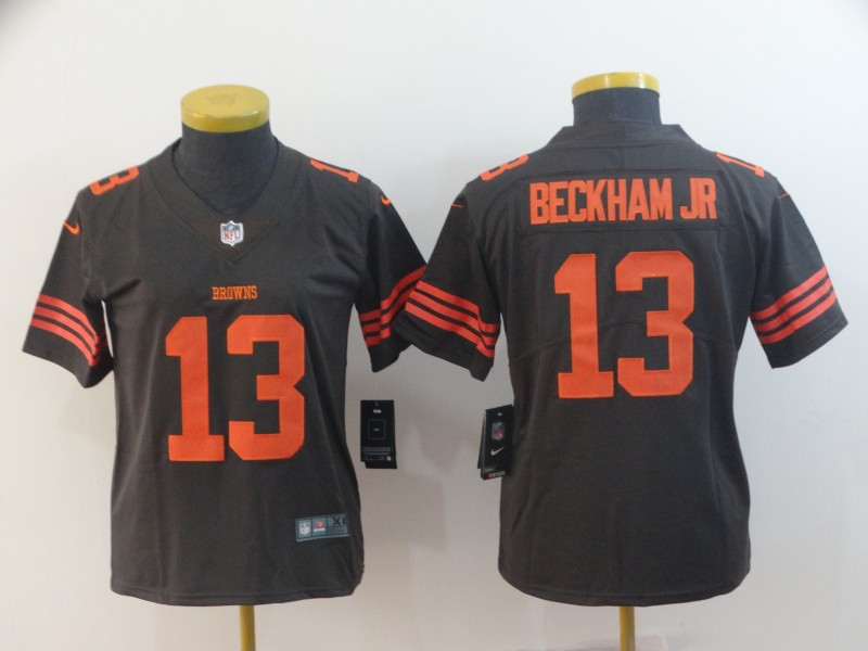 Women's Cleveland Browns #13 Odell Beckham Jr. Brown Color Rush Limited Stitched NFL Jersey(Run Small)