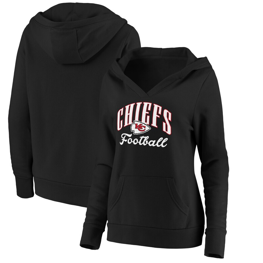 Women's Kansas City Chiefs Black Victory Script Team Pullover Hoodie(Run Small)