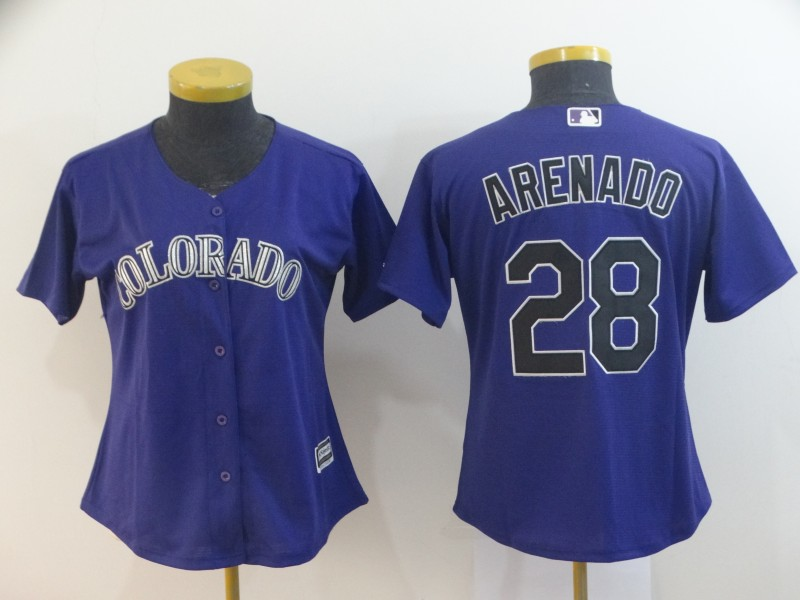 Men's Colorado Rockies #28 Nolan Arenado Blue Cool Base Stitched MLB Jersey