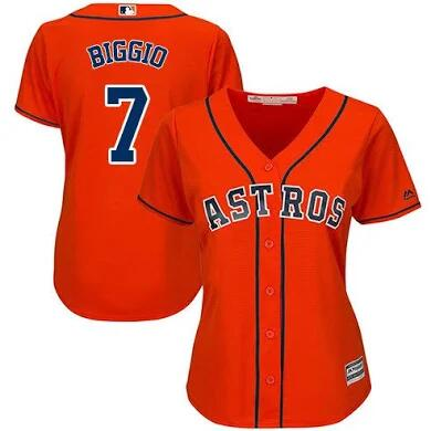 Women's Houston Astros #7 Craig Biggio Orange Cool Base Stitched MLB Jersey(Run Small)