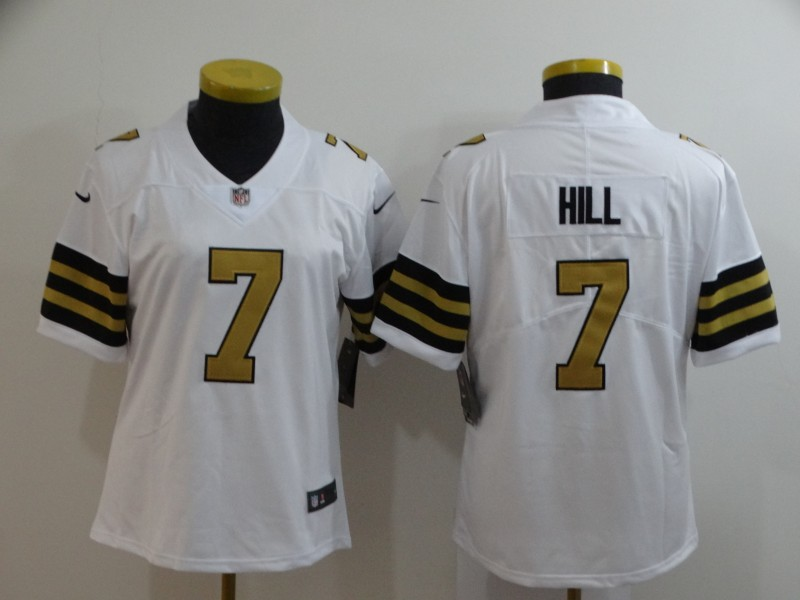 Women's New Orleans Saints #7 Taysom Hill White Vapor Untouchable Limited Stitched NFL Jersey(Run Small)