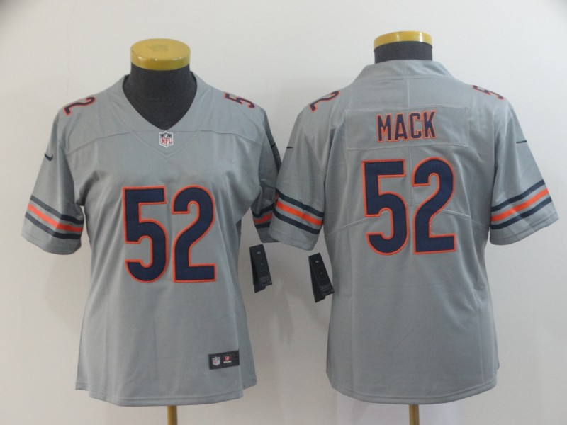 Women's Chicago Bears #52 Khalil Mack 2019 Silver Inverted Legend Stitched NFL Jersey(Runs Small)