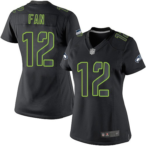 Women's Seattle Seahawks #12 Fan Black Impact Limited Stitched NFL Jersey
