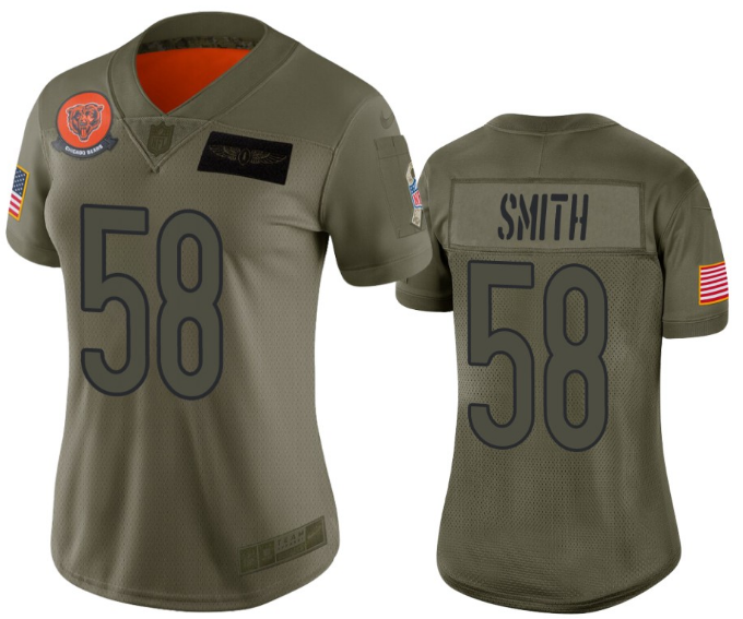 Women's Chicago Bears #58 Roquan Smith 2019 Camo Salute To Service Limited Stitched NFL Jersey(Run Small)