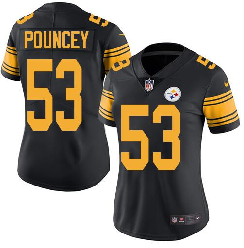 Women's Pittsburgh Steelers #53 Maurkice Pouncey Black Color Rush Limited Stitched NFL Jersey(Run Small)