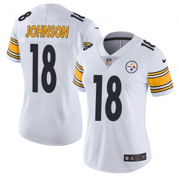 Women's Pittsburgh Steelers #18 Diontae Johnson White Vapor Untouchable Limited Stitched NFL Jersey(Run Small)
