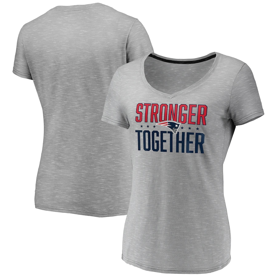 Women's New England Patriots Gray Stronger Together Space Dye V-Neck T-Shirt(Run Small)