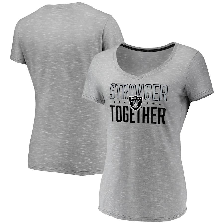 Women's Las Vegas Raiders Gray Stronger Together Space Dye V-Neck T-Shirt(Run Small)
