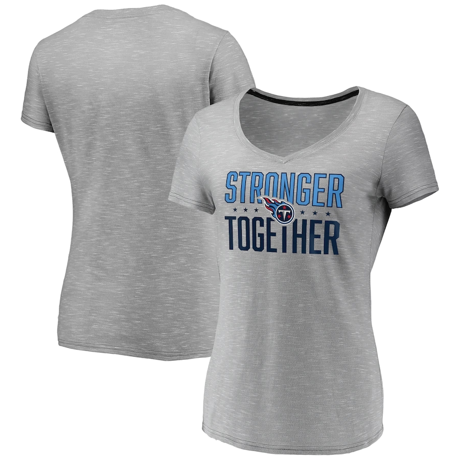Women's Tennessee Titans Gray Stronger Together Space Dye V-Neck T-Shirt(Run Small)
