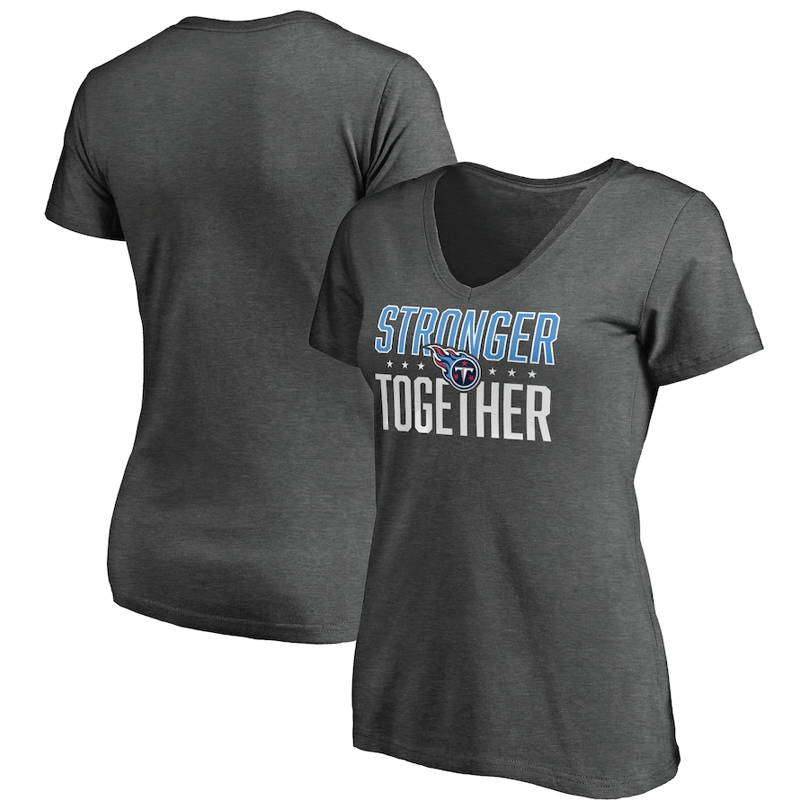 Women's Tennessee Titans Heather Stronger Together Space Dye V-Neck T-Shirt(Run Small)