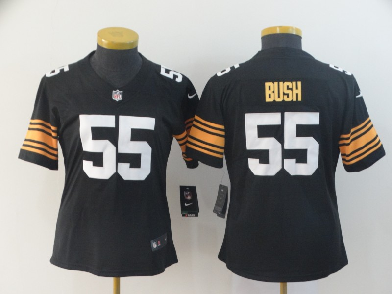 Women's Pittsburgh Steelers #55 Devin Bush Black Vapor Untouchable Limited Stitched NFL Jersey(Run Small)