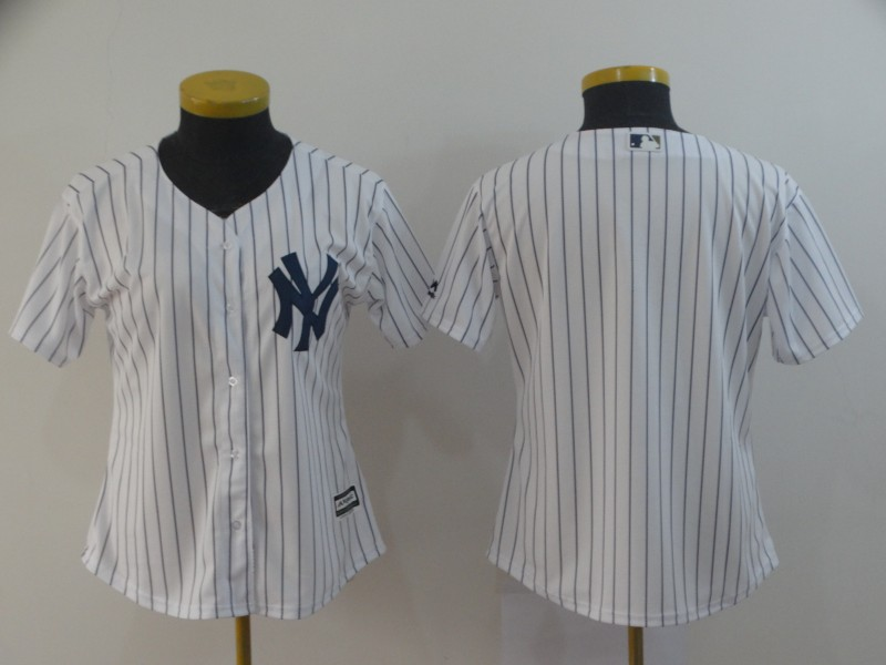 Women's New York Yankees White Cool Base Stitched MLB Jersey(Run Small)
