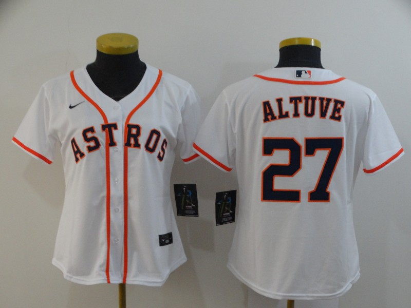 Women's Houston Astros #27 Jose Altuve 2020 White Cool Base Stitched MLB Jersey(Run Small)