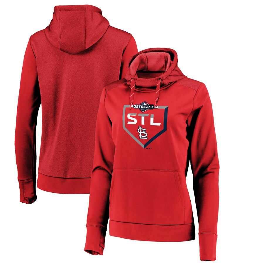 Women's St. Louis Cardinals Majestic Red 2019 Postseason Dugout Pullover Hoodie(Run Small)