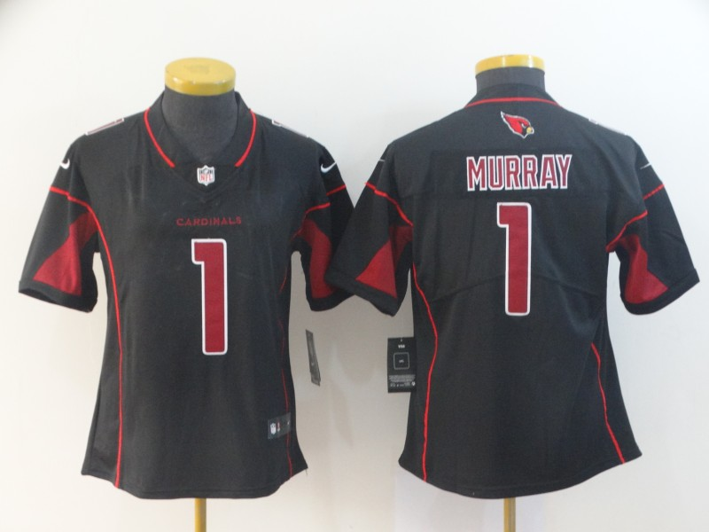Women's Arizona Cardinals #1 Kyler Murray Black Limited Rush Stitched NFL Jersey(Run Small)
